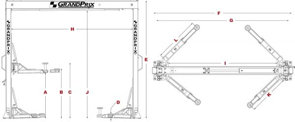 bendpak gp-7lcs 2 post lift 7,000 lb. lift capacity 5175995  on time auto equipment
