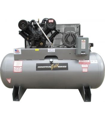 Industrial Gold CI1023E120H-P Platinum Series 10 HP 3 Phase Horizontal Tank Air Compressor