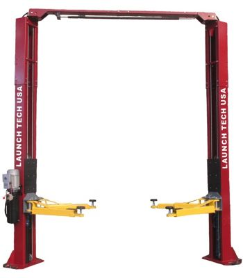 Launch Tech USA 9,000 LB 2 Post Clear Floor - ASYMMETRIC - Red